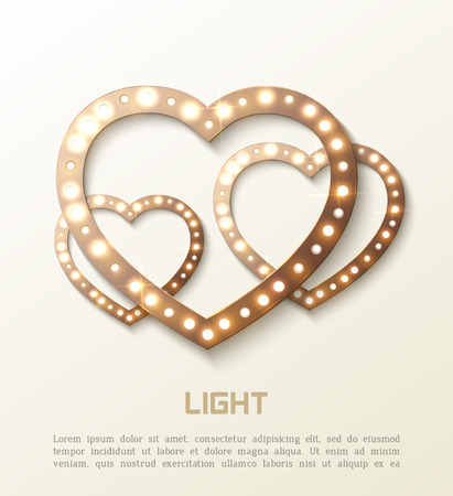 shiny hearts: Romance background with shiny hearts and text for design