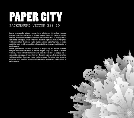 creative arts: Abstract 3D Paper City background with text for your design