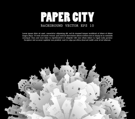 Abstract 3D Paper City background Ilustração