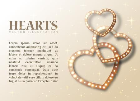 Fond romantique avec des coeurs brillants et du texte pour le design