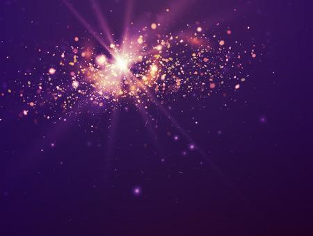 바이올렛 크리스마스 배경입니다. 빛과 별 보라색 축제 배경 화면.