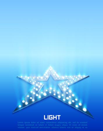 Star retro blue light banner. Vector illustration