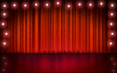 red stage curtain: Spotlight on red stage curtain. Vector illustration.