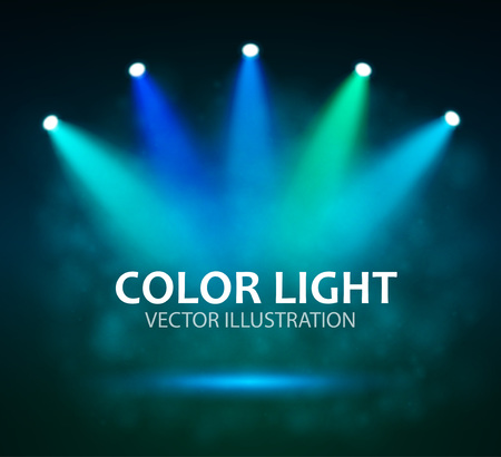 broadway: Spotlight on stage for your design. Colorful light. Vector illustration.
