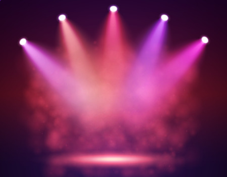 reveal: Spotlight on stage for your design. Colorful light. Vector illustration.