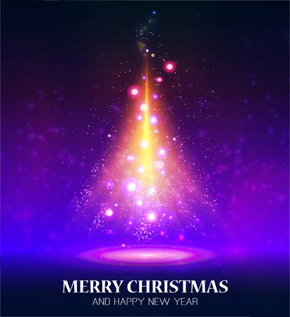 Shining Christmas tree. Vector illustration Illustration