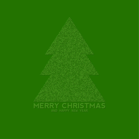 christmas tree made from dots, abstract background