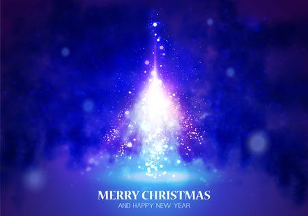Shining Christmas blue unusual tree. illustration Illustration