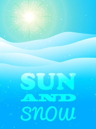 Winter blue background with sun and snow. illustration. Illustration