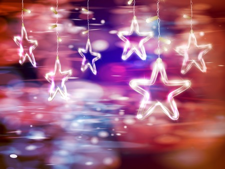 Christmas background of de-focused lights with decorated Glass Stars Illustration