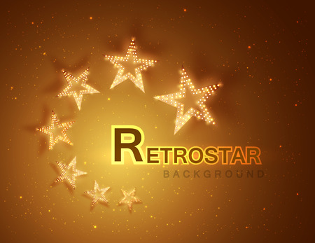 signboard form: Retro stars abstract background for your design, light and shining