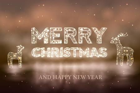 lighten: Beautiful Christmas bokeh background with lighten reindeer Stock Photo