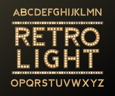 Alphabet with Bulb Lamps Gold Light