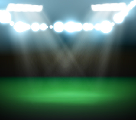 Empty Football Field With Spotlights and Lights, vector