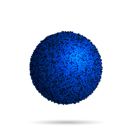 Blue Fur Ball Isolated On White, vector Illustration