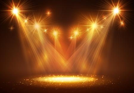 煙と光のステージ上のスポット ライトです。ベクトルの図。