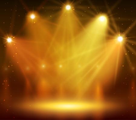 reveal: Spotlight on stage for your design. Colorful light. Illustration