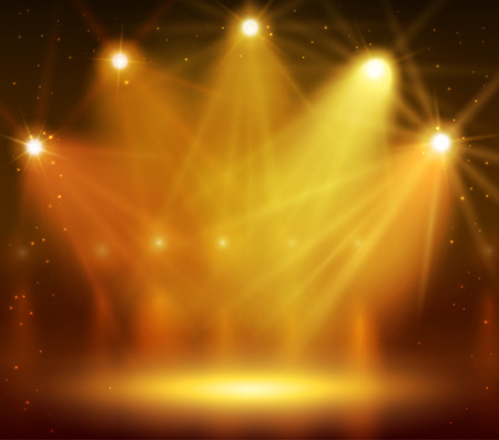 Spotlight on stage for your design. Colorful light. Illustration
