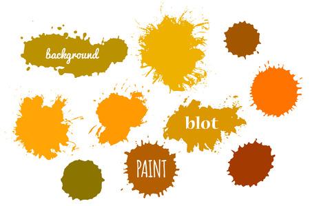 Collection Orange Paint Splash. Vector set of Brush Strokes. Isolated