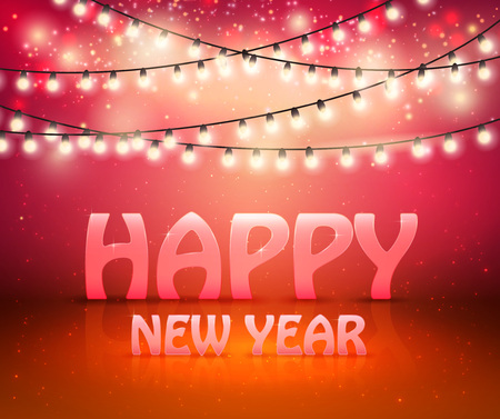 Happy New Year Greeting Background With Shine And Lights, vector