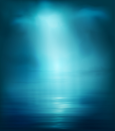 ray of light: Background Blue Sea With Light