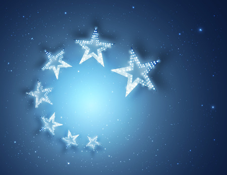 Blue Stars Abstract Background for your Design, Light and Shining