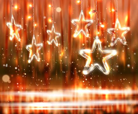 Fondo de la Navidad de las luces desenfocada con las estrellas de cristal decoradas Foto de archivo - 88529817