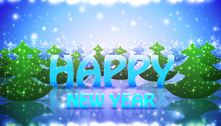 Nature Greetin Card Happy New Year with Christmas Trees, vector
