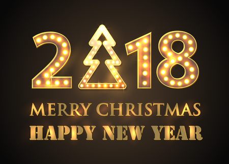 2018 Happy New Year Greeting Background with Spotlights