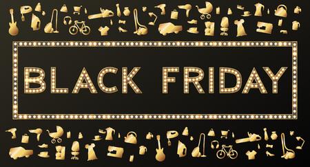 Black Friday Sale Background on White, Discount Item. Vector illustration