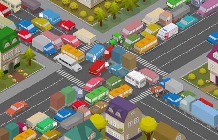 Embouteillage. Voitures isométriques et des maisons pour l'illustration de la route très fréquentée. Vecteur