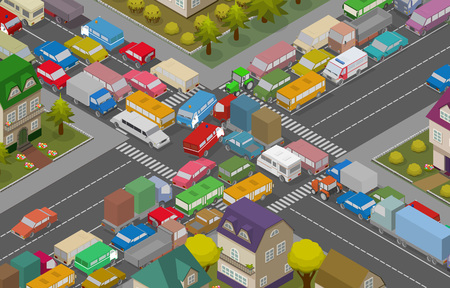 Traffic Jam. Isometric Cars and Houses for Illustration Of Busy Road. Vector