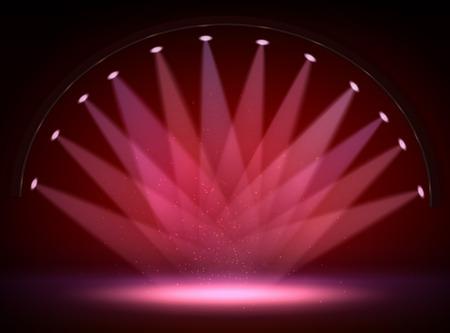 Stage lights, circle projectors in the dark vector illustration Illustration