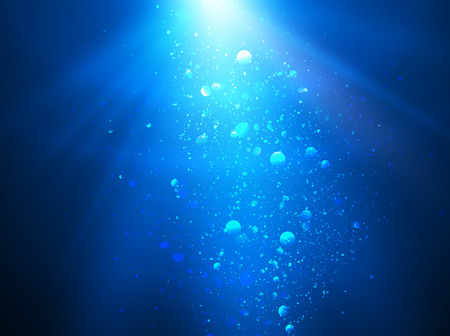 Abstract blue water background with sunbeams Ilustração