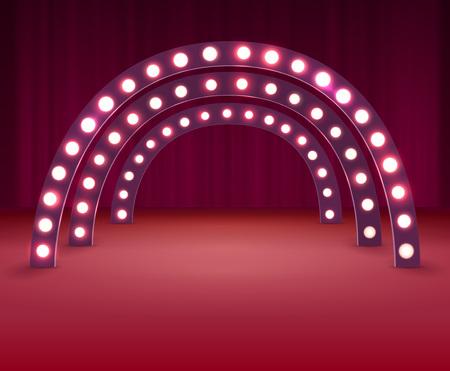 Etapa con bombillas circulares