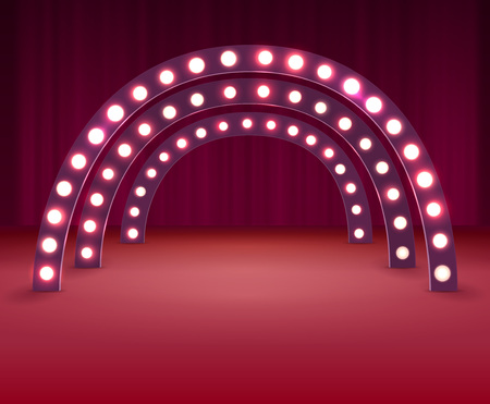 Stage With Circle Light Bulbs Banco de Imagens - 98891812