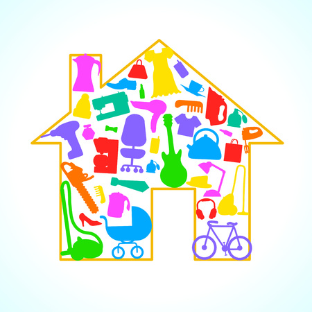 Houses items Appliances Icon set in house silhouette background illustration.