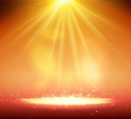 One Spotlight on stage with smoke and light. Standard-Bild - 104937623