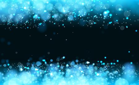 Lights on blue background bokeh effect.