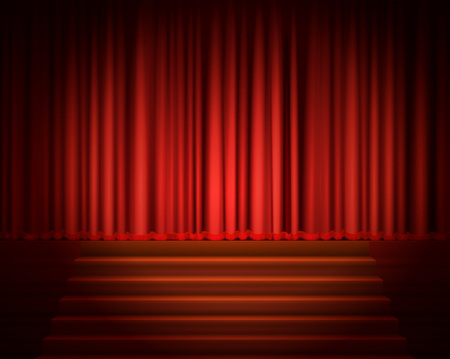 Red Curtain with a Spotlight and Stair