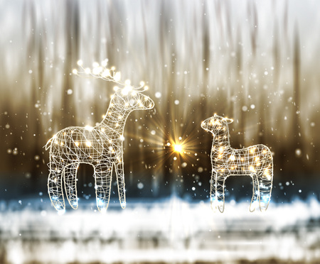 Two Reindeer From Lamp And Wire on the Winter Bokeh Background. Vector