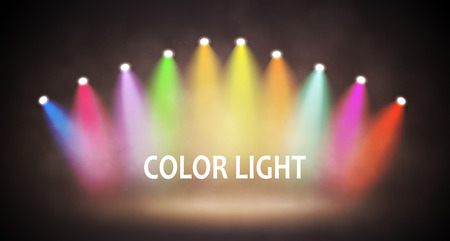 Spotlight on Stage for your Design. Different Colorful Light. Vector illustration. Zdjęcie Seryjne - 117530422