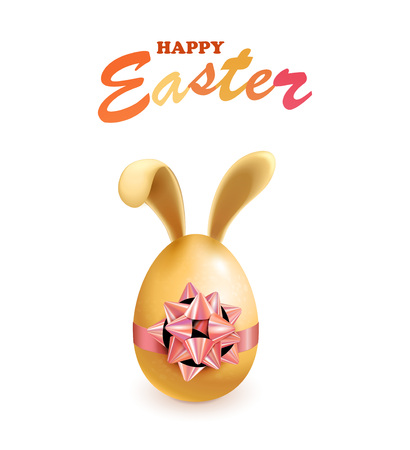 Happy Easter eggs with bunny ears, vector
