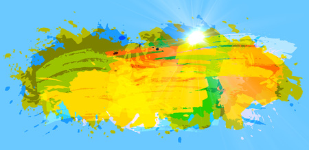 Hot Summer Background With Bright Color Brush Splash on the blue sky, vector
