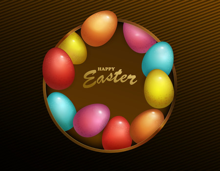 Happy Easter Holiday with colored egg. Dark box design for greeting card, party invitation etc. Vector Illustration