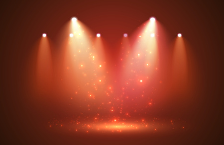 Sparkle with Spotlights on stage for your design. Vector illustration.
