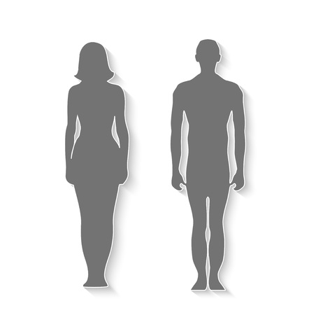 Isolated silhouette man amd woman for design, vector