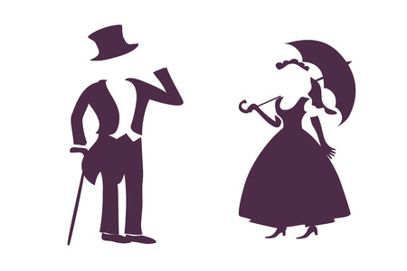 Silhouette of lady and gentleman isolated on white. Vector