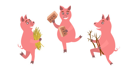 Three funny pigs with brick, straw and stiks.