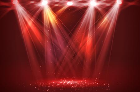 Reflektory na scenie ze światłem dymnym. Ilustracja wektorowa.